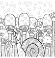 Cute snail in mushroom forest adult coloring book vector image vector image