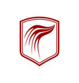 dragon wing red shield symbol design vector image