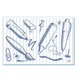 drawings of stationery vector image vector image