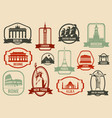 famous monuments and landmarks collection labels vector image vector image