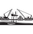 floating crane mounting oil rig in sea vector image vector image