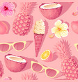 flowers and exotic fruits seamless pattern vector image vector image