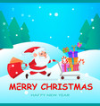 funny santa claus running with shopping cart vector image