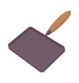Grill pan with a wooden handle icon cartoon style vector image