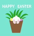 happy easter bunny rabbit bottom foot leg paw vector image