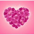 heart of roses for Valentines day vector image
