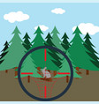 hunting in fir forest vector image vector image