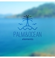 logo palm on island and waves vector image vector image