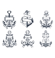 Marine themed ships anchor icons with ribbons vector image vector image