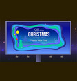merry christmas and new year poster with lettering vector image vector image