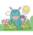 monster and girl creatures with sun and clouds vector image vector image