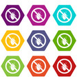 no bug sign icon set color hexahedron vector image vector image