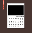 October 2014 calendar vector image