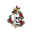 old school tattoo emblem label with skull dagger vector image vector image