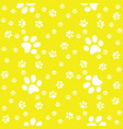 paws yellow pattern paw background vector image