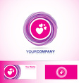 Pink love heart inside circle logo vector image
