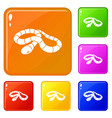 red milk snake icons set color vector image vector image