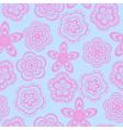Seamless background pattern of pink lace flowers vector image vector image