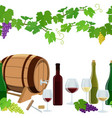 seamless horizontal borders of wine icons vector image
