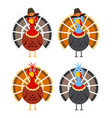 set cartoon turkey birds for thanksgiving day vector image