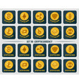 set of 10 flat currency cryptocurrency icon vector image