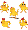 set of cute cartoon yellow chick vector image vector image