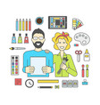 set of icons for designers and accessories vector image vector image
