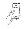 smart phone in hand sketch vector image