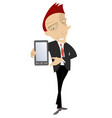 smiling man holds a smart phone isolated vector image vector image