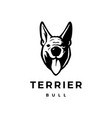 terrier bull dog head face front view logo icon vector image