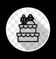 Wedding Cake with Bride and Groom Figurines vector image