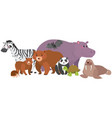 wild animals with happy face vector image
