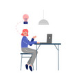 young woman sitting at table and working vector image vector image