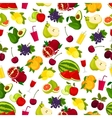 Fresh ripe fruits and juicy drinks pattern vector image