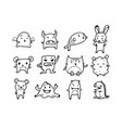 set of monsters animals doodle cartoon drawing vector image
