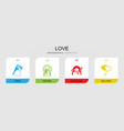 4 love filled icons set isolated on infographic vector image vector image