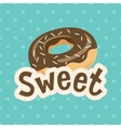 Sweet label with donut on polka-dot background