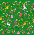 background with easter bunnies and eggs vector image vector image
