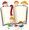 Book design with children reading books vector image vector image