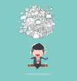 cartoon businessman swinging on social network vector image