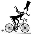 cartoon mustache man rides on the bike vector image