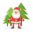 cartoon santa in red hat holding christmass ball vector image vector image