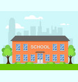 cartoon school building vector image vector image