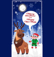 christmas characters in winter forest happy new vector image vector image