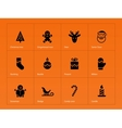 Christmas icons on orange background vector image vector image