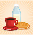 coffee and milk with bread vector image