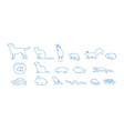 collection pet icons drawn with blue contour vector image