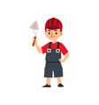 cute little child boy builder or bricklayer flat vector image