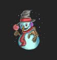 cute snowman bring a candy vector image