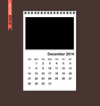 December 2014 calendar vector image vector image
